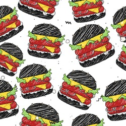 Seamless vector patter with fast food