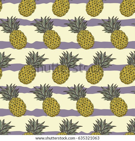 Seamless vector pattern. Abstract hand drawn bright pineapple pattern on the stripped yellow and violet background.