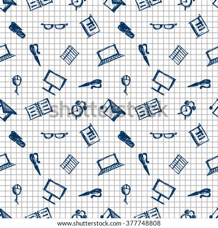 Seamless vector pattern, background notebooks, pens, pencils, glasses and books on the checkered paper. Hand sketch drawing. Imitation of ink pencilling. Series of Hand Drawn Patterns.