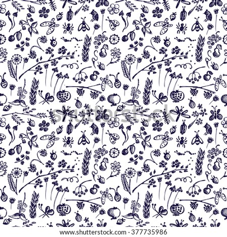Seamless vector pattern, background with insects, fruits, flowers and leaves on the white backdrop. Hand sketch drawing. Imitation of ink pencilling. Series of Hand Drawn Patterns.