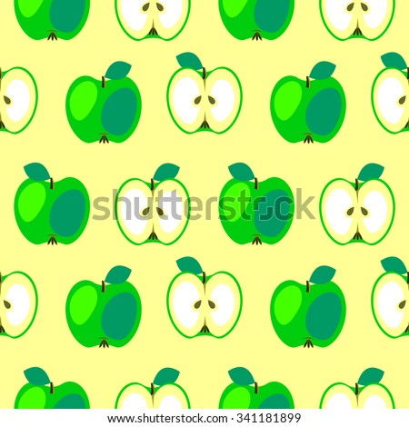 Seamless vector pattern,  bright  fruits symmetrical background with apples, whole and half over light yellow backdrop.  - stock vector