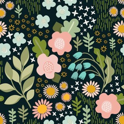 Seamless vector pattern. Delicate floral background.