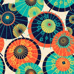 seamless vector pattern design with colorful traditional japanese umbrellas. design for print, wrapping, wallpaper