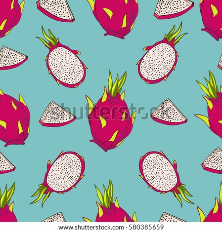Seamless vector pattern. Exotic fruits pattern. Dragon fruits and papaya on the bright blue background.