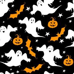 Seamless vector pattern for Halloween design. Halloween symbols: bat, pumpkin, ghost in cartoon style. Vector Illustration