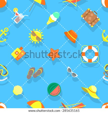Seamless vector pattern for the summer background with beach objects in flat style. Sea relax icons scattered on a blue backdrop. Web site background, book cover, printing on fabric, wallpaper design