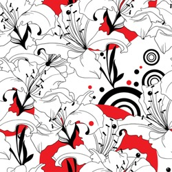 seamless vector pattern from black, white and red lilies
