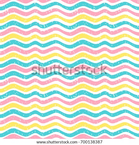 Seamless vector pattern in cute colors with waves and texture for wrapping paper and fabric design