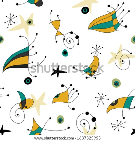Seamless vector pattern in midcentury retro style. Miro inspired abstract drawing. Yellow and emerald green on white background.