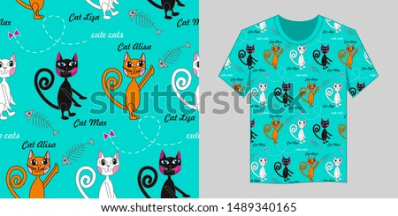 Seamless vector pattern. Kids background. Cute cats. Funny cats. Cats on a turquoise blue background. Decor for t-shirt clothes, picture for the background.