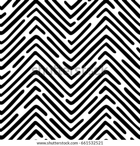 Seamless vector pattern made of hand drawn wavy dashed lines. Abstract geometric background.