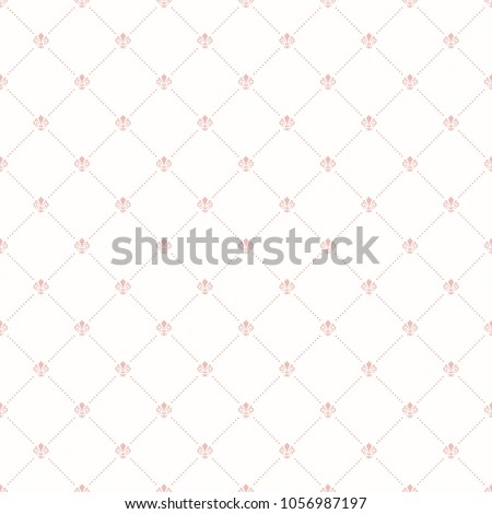 Seamless vector pattern. Modern geometric ornament with pink royal lilies. Classic vintage background