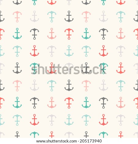 Seamless vector pattern of anchor shapes. Endless texture for printing onto fabric, web page background and paper or invitation. Abstract retro nautical style. Retro colors.