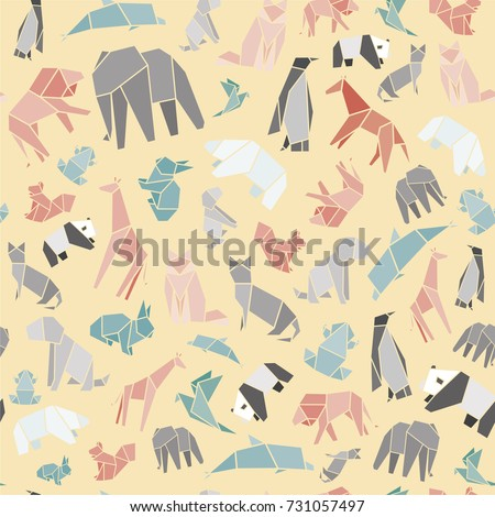 Seamless vector pattern of animals origami. Vector origami paper animals.