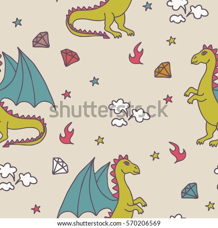 seamless vector pattern of cute