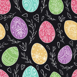 Seamless vector pattern of Easter eggs and abstract floral elements. Holiday background for greeting card, website, printing on fabric, gift wrap, postcard and wallpapers. Easter background.