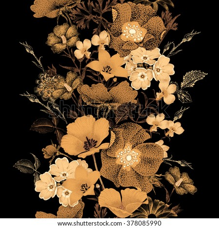 Seamless vector pattern of garden flowers in style of Chinese lacquer miniature. Flowers gold color on black background. Vintage. Design of flowers - oriental style. Flowers roses, bluebells, daisies.