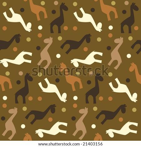 seamless vector pattern of simple naive giraffe