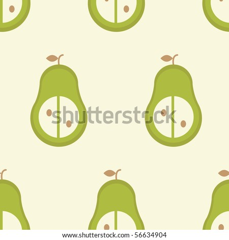 Seamless vector pattern of simple stylized pear