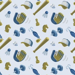 Seamless vector pattern on the theme of Father's Day, active family leisure in light pastel colors. It includes baseball equipment, chess pawns and knights, fishing equipment (minnow) and a dumble.