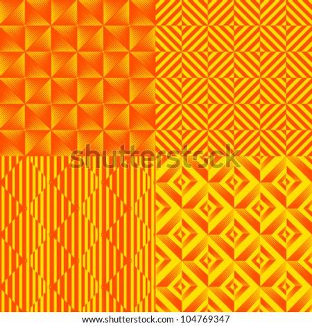 Seamless vector pattern orange yellow geometrical texture set of four