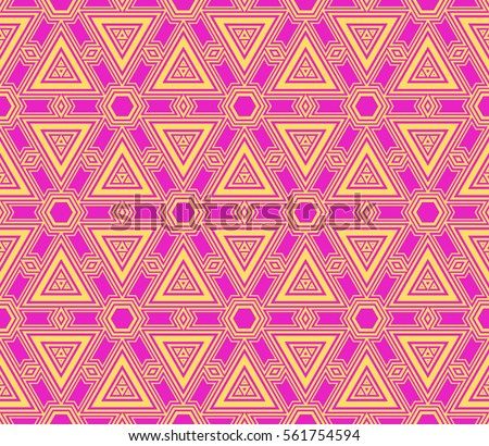 Seamless Vector Pattern Purple Yellow Color Simple Geometry