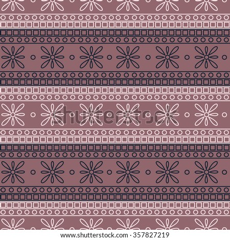 Seamless vector pattern. Symmetrical geometric background with colorful squares and flowers on the pink backdrop. Decorative ornament.