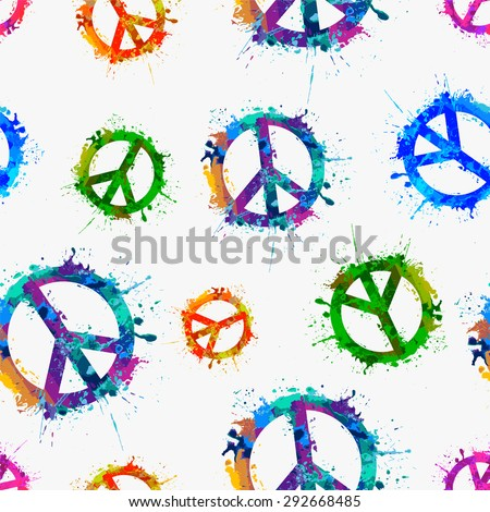 Seamless vector pattern - Vector peace symbol in watercolor splashes