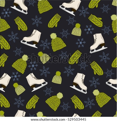 Seamless vector pattern. Vintage style seamless pattern with skates, knitted hats and mittens on the snowflakes black background.
