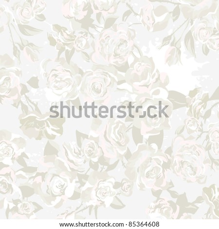 Seamless vector pattern, Wallpaper, Vector Background with roses in vintage style