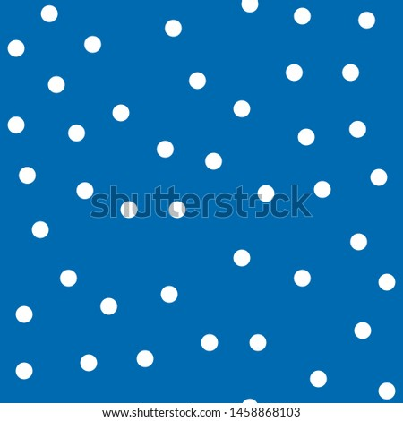 Seamless vector pattern. White Polka dot on blue. Dotted background with circles, dots, rounds Vector illustration for print on fabric, gift wrap, web backgrounds, scrap booking, patchwork