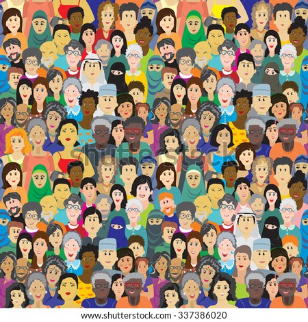 Seamless vector pattern with a crowd of people of different ages, races and nationalities. Man, women, grandmothers, grandfathers, boys, girls in colorful clothes