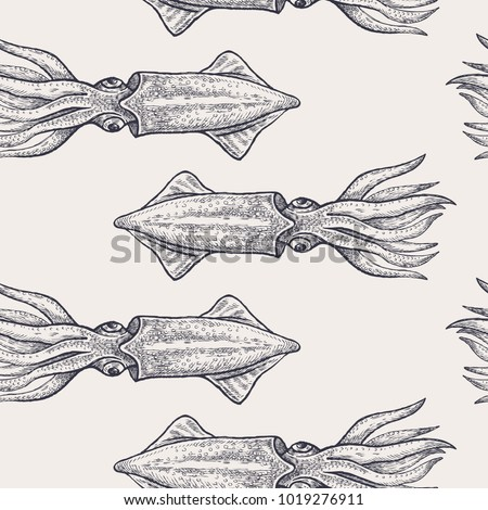 Seamless vector pattern with animals under water. Black squid on pastel background. Vintage engraving art. Hand drawing sketch. Kitchen design with seafood for paper, wrapping, fabrics