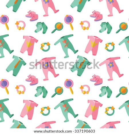 Seamless vector pattern with baby clothes, bootees and rattles Zdjęcia stock ©