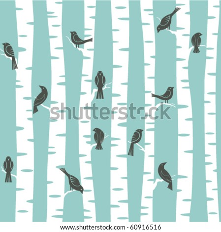 seamless vector pattern with birds and trees - stock vector