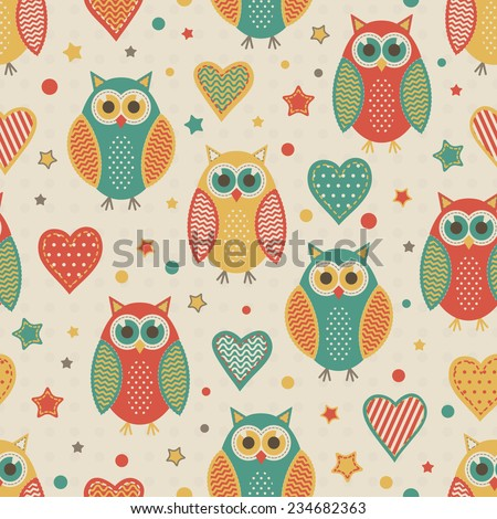Seamless vector pattern with blue, red and yellow cute owls