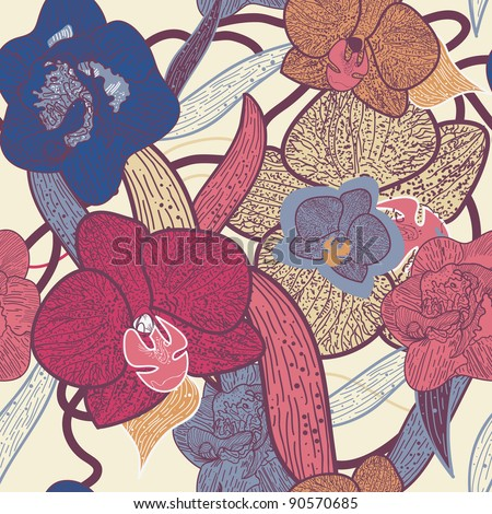 Seamless vector pattern with bright orchid flower