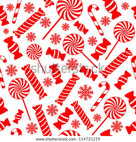 Seamless vector pattern with candies and snowflakes EPS8