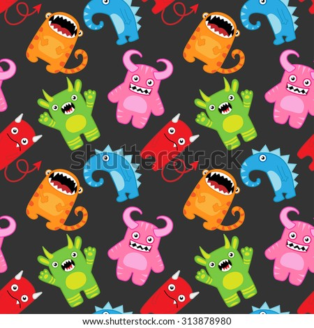 Seamless vector pattern with cartoon monsters
