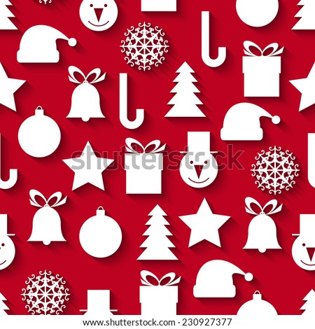 Seamless vector pattern with Christmas icons