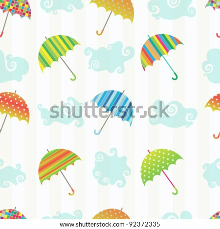 Seamless vector pattern with clouds and colorful umbrellas