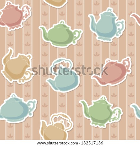 Seamless vector pattern with color teapot