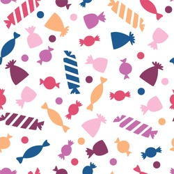 Seamless vector pattern with colorful candy. Candy for Halloween party. Vector candy for the web, for a card or for scrapbooking
