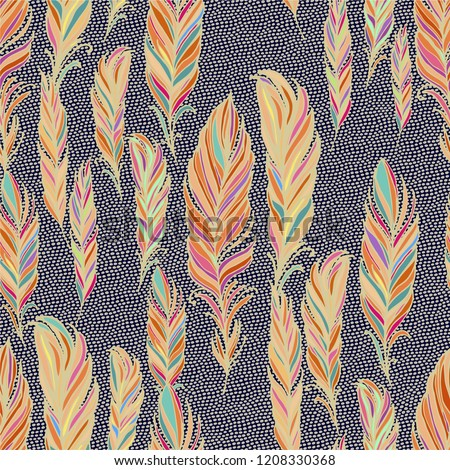 Seamless vector pattern with colorful golden contoured feathers