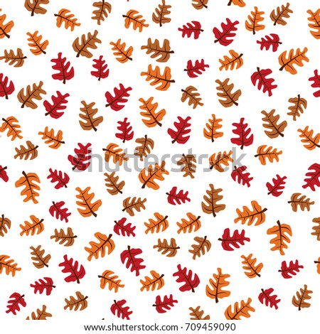seamless vector pattern with colorful oak autumn leaves; season holidays decoration, wrapping paper, textile print, generic fall background etc.