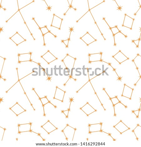 Seamless vector pattern with constellations. Space exploration. Astronomy. Science. Design for astronomy apps, websites, print.