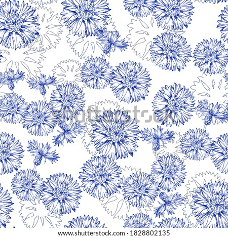 Seamless vector pattern with cornflower in the Toile de Jouy style. Blue flowers isolated on white background. Print design for wallpapers, textile, fabric, wrapping gift, ceramic tiles Foto stock ©