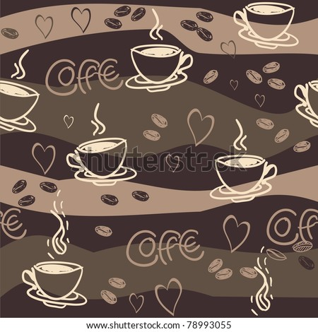 seamless vector pattern with  cup of coffee