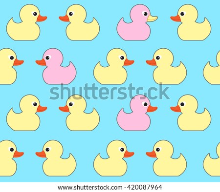 Seamless Vector Pattern With Cute Bright Yellow Ducks. Duck Toy Baby Shower  Illustration. For