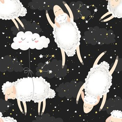 Seamless vector pattern with cute hand drawn cartoon sheeps, clouds and stars on dark background. Design for print, fabric, wallpaper, card